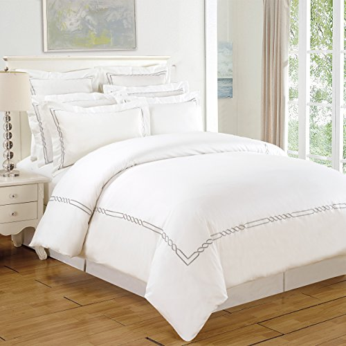 Superior 200 Thread Count 100% Cotton Embroidered Lorenz Duvet Cover Set, Twin/Twin X-Large (Embroidered Set Duvet)