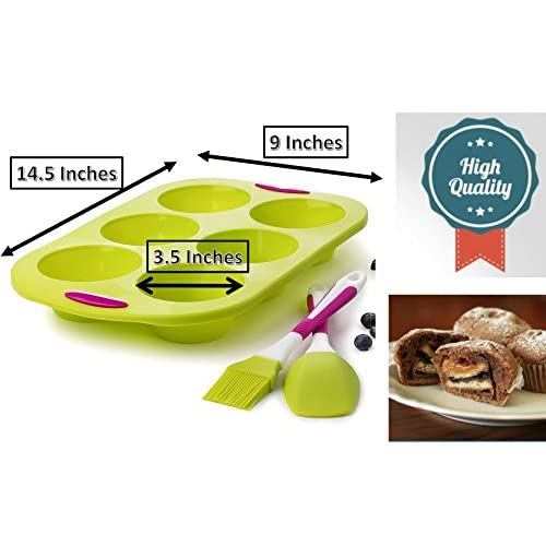 Large 6 Cup Jumbo Muffins Pan Molds 14 INCH cupcake with Spatula and Brush + Free Muffin Ebook - Extra Thick and Solid Silicone