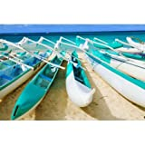Hawaii Oahu Lanikai Outrigger Canoes Stacked Along The Beach Canvas Art - Dana Edmunds Design Pics (18 x 12)