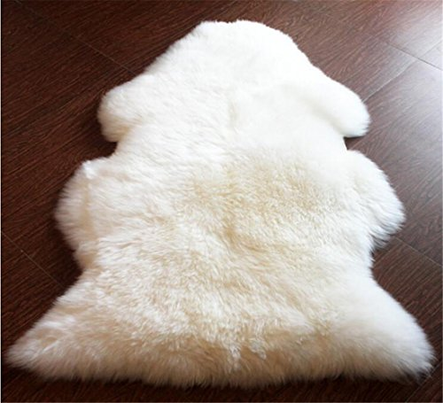 OKAYDA Super Soft 100% Natural Australia Sheepskin Area Rug Hypoallergenic Cruelty-Free Lambskin Decorative Rug for Bedroom Sofa Floor Ivory Single pelt