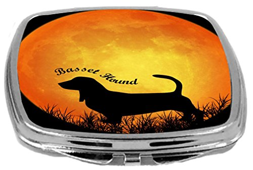 Rikki Knight Dog Silhouette by Moon Design Compact Mirror, Basset Hound, 3 Ounce