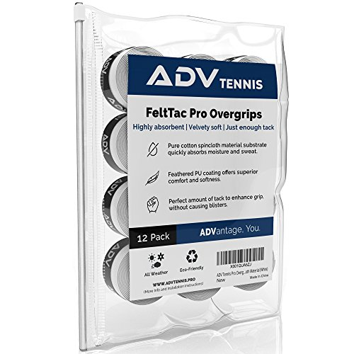 ADV Tennis Dry Overgrip - Remarkably Absorbent - Must Feel Velvety Comfort - Exclusive FeltTac Material (12 Pack, White)