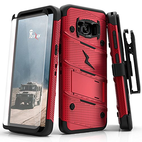 size 40 15618 ccc6c Zizo Bolt Series Compatible with Samsung Galaxy S8 Plus Case Military Grade  Drop Tested with Tempered Glass Screen Protector Holster RED Black