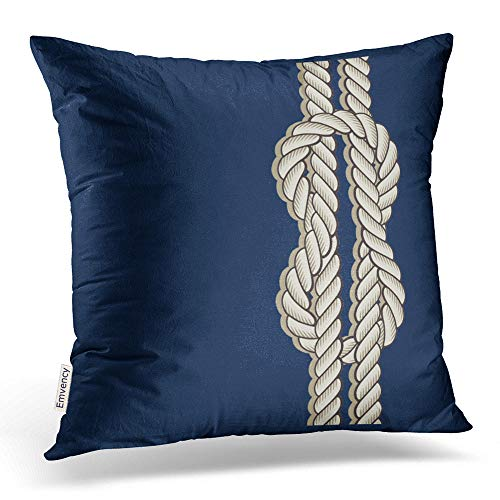 Accrocn Square Throw Pillow Covers Retro Blue Nautical With Ships Rope Art Pillowcases Polyester 18 X 18 Inch With Hidden Zipper Home Sofa Cushion Decorative Pillowcase