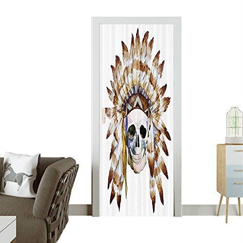 Dead Lyrics Man (Art Door Stickers Native American Skull Indigenous Dead Man Watercolor with Feathers Ethnic Door Decals for Home Room DecorationW32 x H80 INCH)