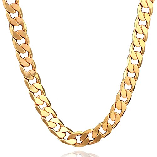 18k Gold Chain - 18K Plated Men Gold Chain Necklace Figaro Punk Style Jewelry,0.5inch width - 24inch Length