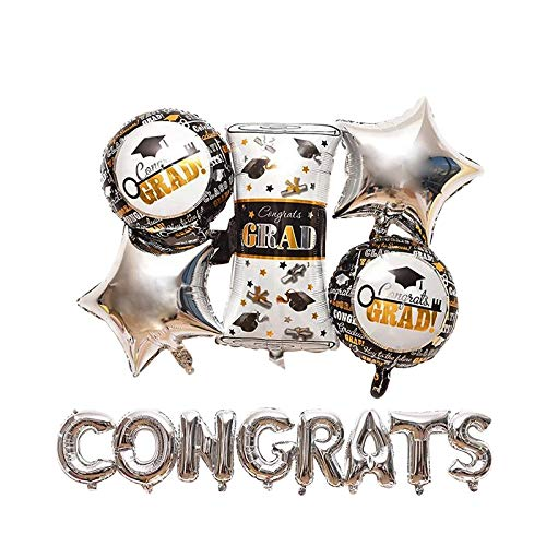 CUEA 16''Congrats Balloon 18 Inchs Sliver Congrats Grad Mylar Balloons Graduation Certificate Congratulations Graduate Balloons Congrats grad Party Supplies
