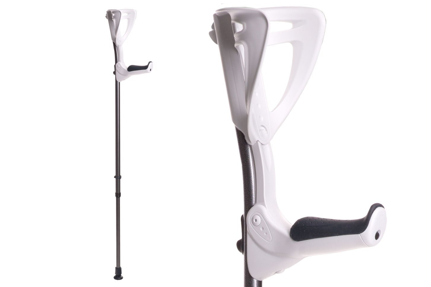 Ergotech Lightweight Forearm Crutches By FDI (Size: 4'4-6'7) 1 Pair/2 Crutches White