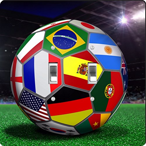 Rikki Knight All Team Flags Football Soccer Ball Design Double Toggle Light Switch Plate by Rikki Knight