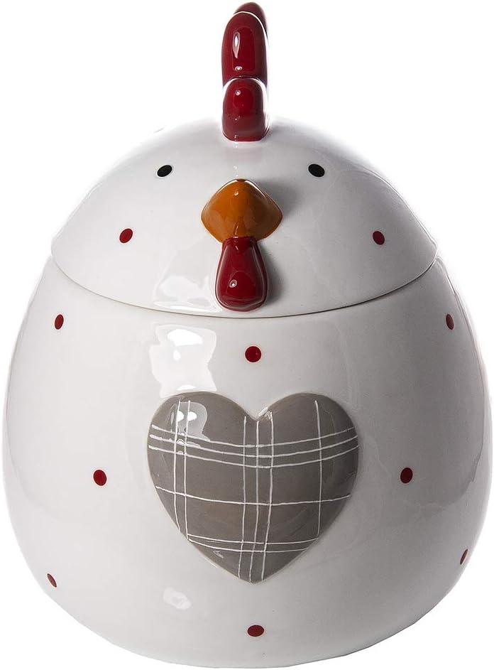 Decorativa para Cocina Gran Tarro de Ceramica Regalo para Amantes de los Animales Bote para Galletas con Tapa y Forma de Gallina