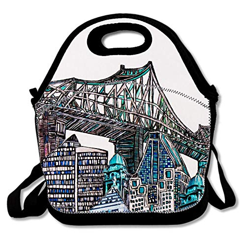 Bridge Pont Jacques Cartier Housse Coussin Plus Blanc Hand Lunch Bags Insulated Thermal Cooler Outdoor School Office Travel Picnic Lunch Box Tote Handbag Teens Kids Adults