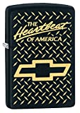 Zippo Lighter: Chevy, The Heartbeat of America, Engraved - Black Matte 79497