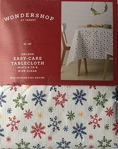Wondershop Christmas Colored Snowflakes Tablecloth - Oblong 60 in x 84 in - Easy Care, Wipe Clean
