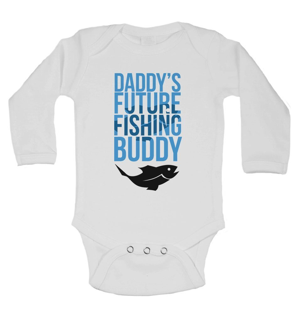 Daddy S Future Fishing Buddy Personalised Long Sleeve Baby Vests Bodysuits Baby Grows Unisex Boys Girls White 0 3 Months Baby
