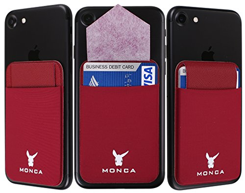 Flap Stick on Wallet Card Holder, MONCA Flap Ultra-Slim Credit Card Wallet Stretchy Lycra with Secure Flap [Universal] fits Most Cell Phones & Cases (Wine)