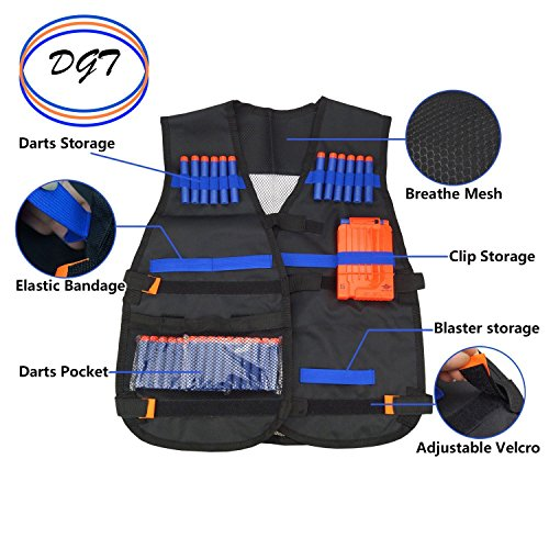 Dealgal Toys Tactical Vest Set For Kids By Nerf Compatible Jacket With Pockets & Slots For War & Shooting Game For Children - With 20 Foam Darts, Mask, Protective Glasses, Reload Clip & Wrist Band