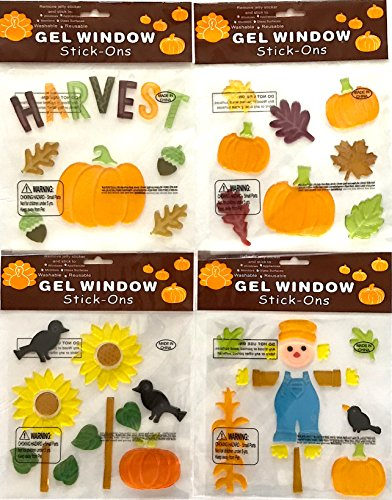 Holiday Fall Gel Window Clings: Harvest, Pumpkin, Leaves, Flowers, Birds, Scarecrow Gel Decorations