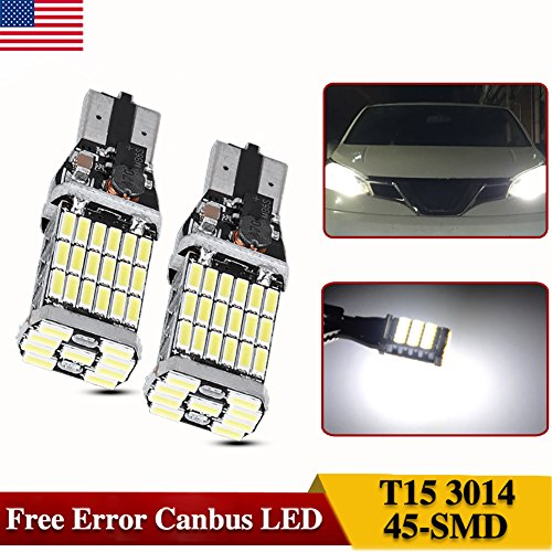 AUTOSAVER88 2X 1000 lumens Extremely Bright Canbus Error Free T10 T15 921 912 45-SMD 4014 Chipsets LED Bulbs For Back up Reverse Lights, Xenon White (No Polarity)