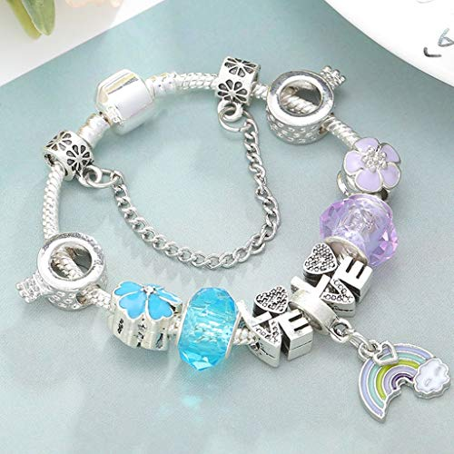Gift for Girlfriend Dropshipping Azure Crystal Charm Bracelet Along with Marano Beads Fits Original Fine Bracelet For ladies Friendship Bracelet Decoration