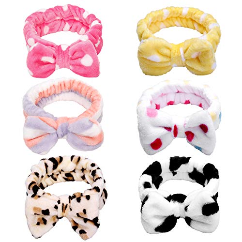Huachi Bow Headbands for Women Washing Face Headwrap Turban Spa Shower Elastic Soft Carol Fleece Hairlace Adjustable Bowknot Hair Accessories, 6 Pack