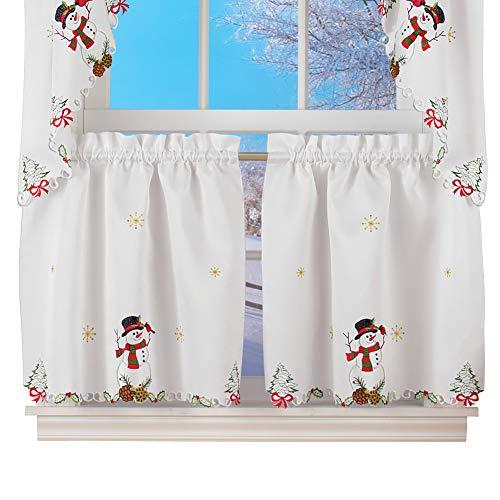 Collections Etc Snowman Cardinal Window Curtain Christmas Decoration, 24