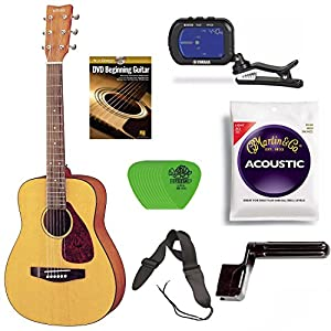 Yamaha JR1 3/4 Size Acoustic Guitar Bundle with Clip-On Chromatic Tuner, Gig Bag, Guitar Strings, String Winder, Guitar Strap, Picks and Beginner's Learning Guitar DVD