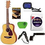 Yamaha JR1 3/4 Scale Mini Folk Acoustic Guitar w/ Clip-On Chromatic Tuner & Guitar String Bundle