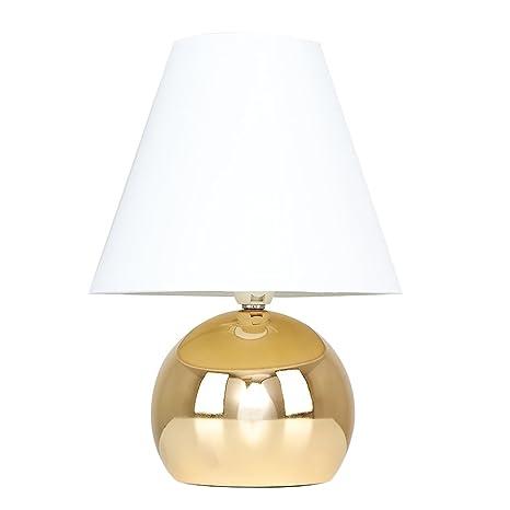 MiniSun - Lámpara de mesa táctil Doriane - Con bello acabado dorado y pantalla blanca