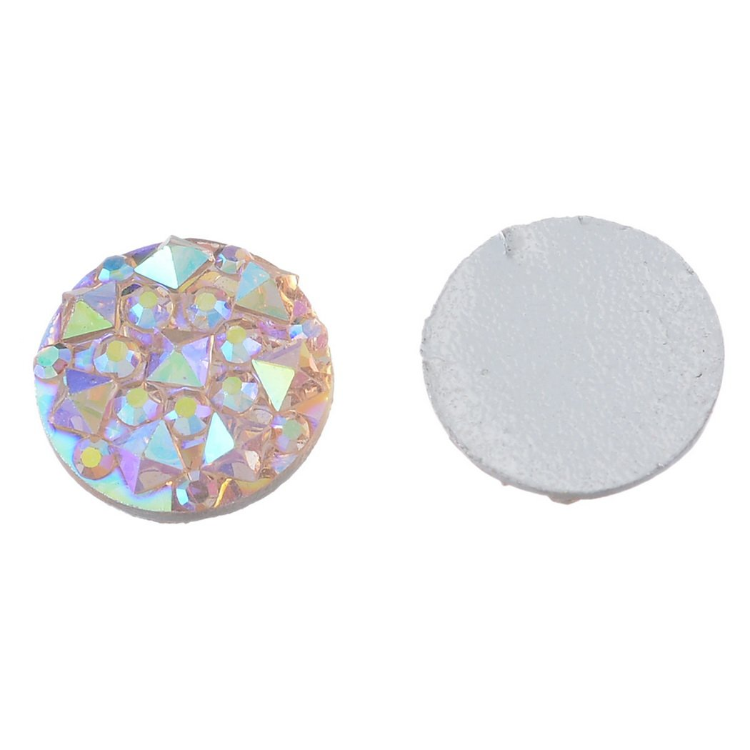 Souarts Champagne Resin Cell Phone Case Flatback Scrapbooking Dome Cabochons for Frame Setting 10mm Pack of 100pcs by Souarts (Image #2)