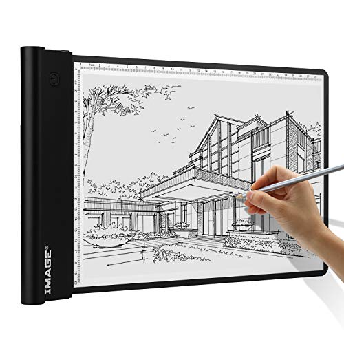 IMAGE LED Artcraft Tracing Light Pad A4 Size Battery Operated Light Box Ultra-Thin 5mm Stepless Brightness Control with Memory Function for Tatoo Pad Aniamtion,Sketching,Designing,Stencilling-White