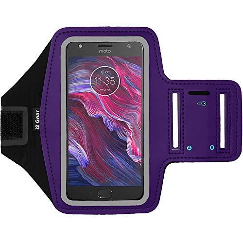 i2 Gear Cell Phone Armband Case for Running - Workout Phone Holder with Adjustable Arm Band, Reflective - Large fits Moto X4, Motorola Droid Turbo 2, Moto G5 Plus, Moto X Force, G5S, MAXX (Purple) (Motorola Moto G 2 Phone Case)
