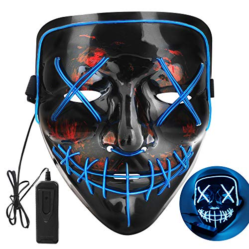 OUTYLTS LED Halloween Mask LED String Lights Decoration Scary Mask Cosplay Up Mask for Festival Cosplay Halloween Novelty Lighting Costume Mask EL Wire Light up for Festival Party