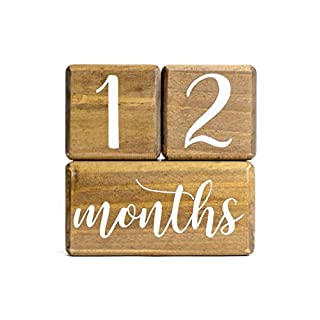 LovelySprouts Premium Solid Natural Wood Milestone Age Blocks + Gift Box | Brown Walnut Stained Pine Wood | Baby Age Photo Blocks | Perfect and Keepsake
