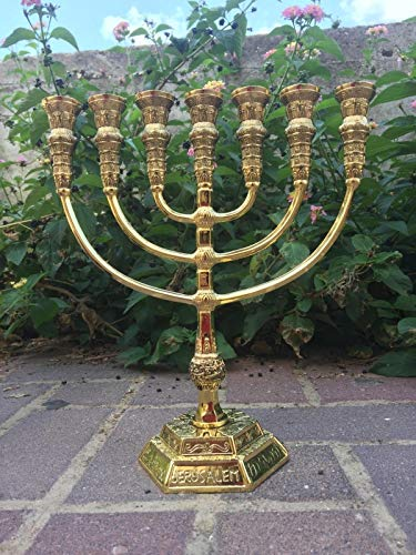 Yaliland Menorah Jerusalem Temple 11 Inch Height 28 cm 7 Branches Brass XL by Yaliland