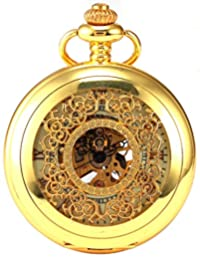AMPM24 Luxury Golden Luminous Mens Mechanical Pocket Watch + Chain Gift WPK020
