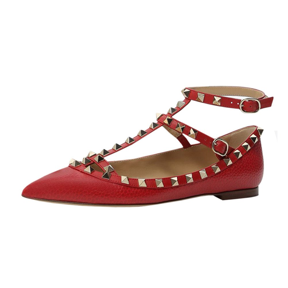 VOCOSI Women's Ankle Strap Studded Pointed Toe Pumps Rivets T-Strap Flat Pumps Dress B07B67NC5B 10.5 B(M) US|Red(pattern With Gold Rivets)