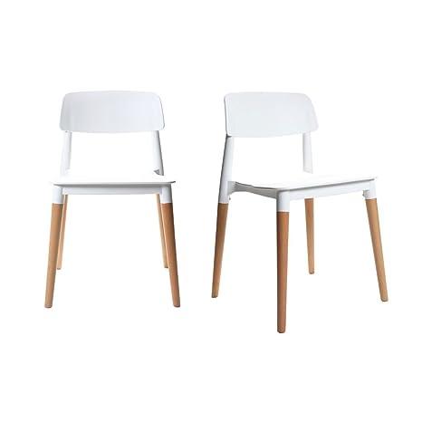 Miliboo - Coppia di sedie design scandinave bianche GILDA: Amazon.it ...