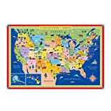 eeBoo Large Floor Puzzle for Kids, United States USA Map, 48 pieces (3 x 2 feet)