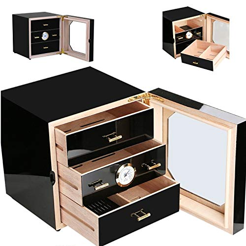 - Cedar Wooden Humidor, Cigar Humidor,75-100 Cigar Humidor Box Black Gloss Piano Finish Cedar Cigar Cabinet 3 Partition (US Stock)
