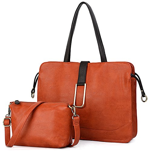 Purse 2 Orange Small Bag Satchel Crossbody Briefcase Set Orange UTo Shoulder Tote Style Pieces Women with Handbag 6w4xnqaE