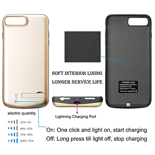 iPhone 7 Plus Battery instance Cofuture 8000mAh electricity Bank easily transportable Extended Battery Charger instance aid Lightning Headphone Sync throughout through Pop Out Kickstand iPhone 7 Plus 8 Plus Gold Battery Charger Cases