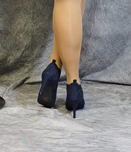de Azul de oscuro terciopelo azul cuero microfibra Forro con Botines Sq0wpa