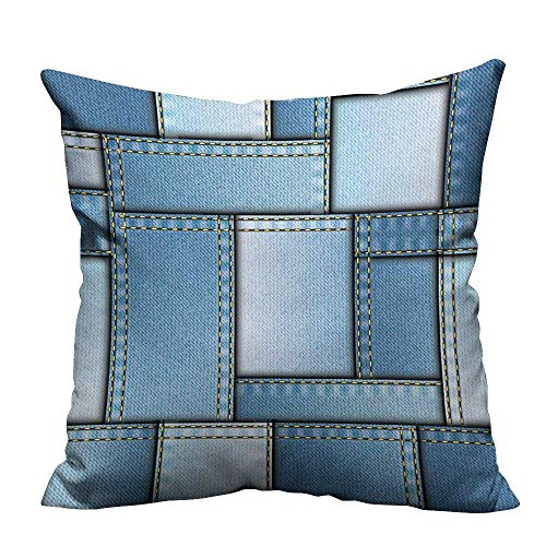 YouXianHome Print Bed Pillowcases Different Denim Fabric Pattern Warp Beam Print Blue Washable and Hypoallergenic(Double-Sided Printing) 12x16 inch