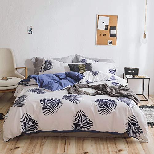 OREISE Duvet Cover Set Full/Queen Size 100% Cotton Blue Leaves On White Printed Tropical Botanical Reversible Design 3Piece Bedding Set (1 Duvet Cover + 2 Pillow Shams) Soft Breathable Durable