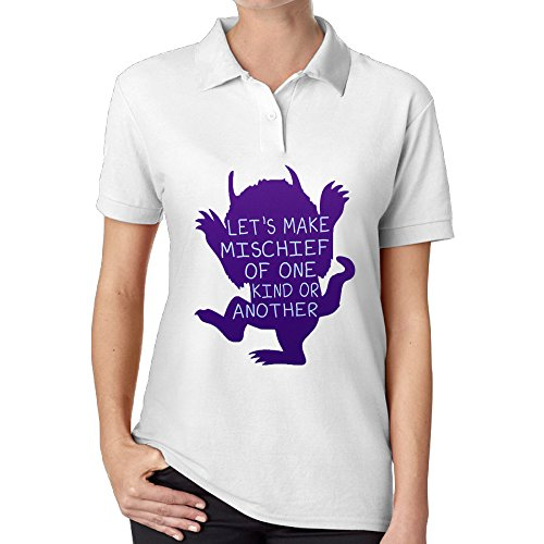 DHome Wild Animal Cartoon Women's High Quality Polo Tee White XXL
