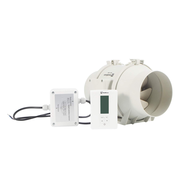 Intelligenter Controller mit Drei Geschwindigkeitssteuerung Abluftventilator Badl/üfter mit Hygrostat und Timer /ø150mm Hon/&Guan Rohrventilator