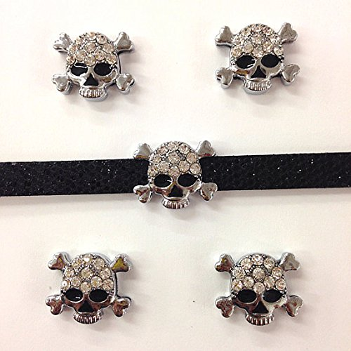 Set of 20 Pc Silver Rhinestone Skull Slide Charm Fits 8mm Wristband for Jewelry /Crafting