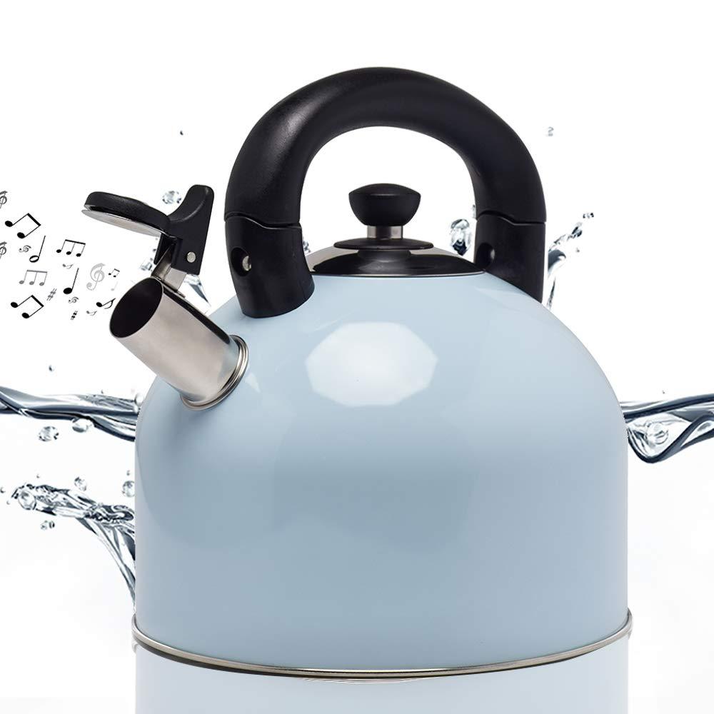 Whistling Hot Water TeaKettle 4 Quart Stainless Steel Tea Kettle - Large Capacity Teakettle for Stovetop/Induction cooker