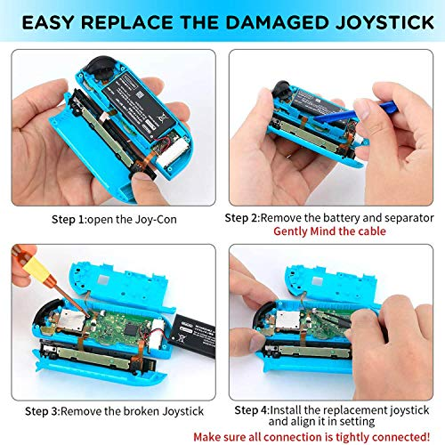 Joycon Joystick Replacement,(4 Pack) 3D Analog Left/Right Thumb Sticks Sensor Cap for Nintendo Switch Joy Con Controller, Include Full Repair Tool Set (25 in 1)