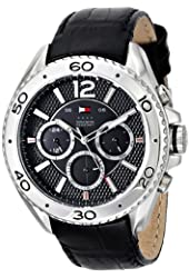 Tommy Hilfiger Men's 1791029 Stainless Steel Watch with Black Leather Band